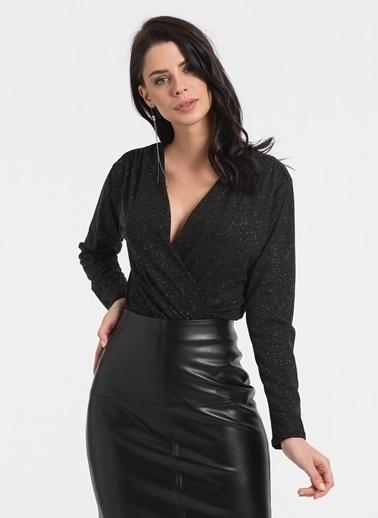Styletag Simli Kruvaze Bluz Siyah